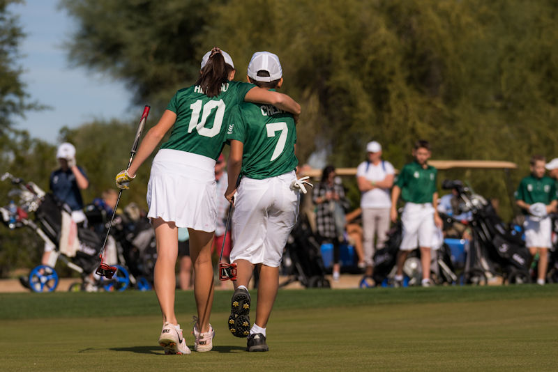 SCOTTSDALE, AZ - NOVEMBER 17:   Sydney Hidalgo (l) and North Chery (r) of Team Connecticut during the first session of the 2018 PGA Jr. League Championship presented by National Car Rental held at Grayhawk Golf Club in Scottsdale, Arizona on November 17, 2018. (Photo by Darren Carroll/PGA of America)