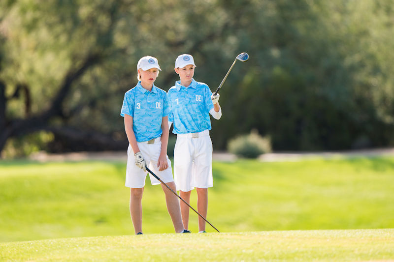 SCOTTSDALE, AZ - NOVEMBER 18:   L-R Henry Stone (3) and Michal Maslanka (7) of Team Delaware in the third fairway during the third session of the 2018 PGA Jr. League Championship presented by National Car Rental held at Grayhawk Golf Club in Scottsdale, Arizona on November 18, 2018. (Photo by Darren Carroll/PGA of America)