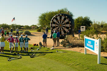 SCOTTSDALE, AZ - OCTOBER 11: Contestants compete at Alex's Soccer Darts station during the Welcome Reception and Skills Competition for the 2019 PGA Jr. League Championship presented by National Car Rental held at the Grayhawk Golf Club on October 11, 2019 in Scottsdale, Arizona. (Photo by Darren Carroll/PGA of America)