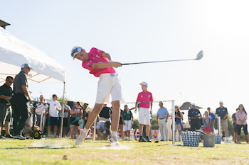 SCOTTSDALE, AZ - OCTOBER 11: A Team Connecticut contestant at Rory's Long Drive station during the Welcome Reception and Skills Competition for the 2019 PGA Jr. League Championship presented by National Car Rental held at the Grayhawk Golf Club on October 11, 2019 in Scottsdale, Arizona. (Photo by Darren Carroll/PGA of America)