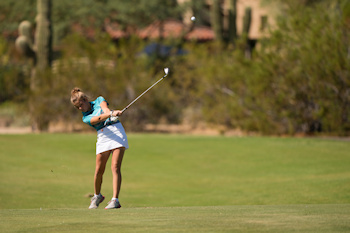 SCOTTSDALE, AZ - OCTOBER 12: Reese McCauley of Minnesota hits out of the fairway on the ninth hole at the Orange Course during Session One for the 2019 PGA Jr. League Championship presented by National Car Rental held at the Grayhawk Golf Club on October 12, 2019 in Scottsdale, Arizona. (Photo by Darren Carroll/PGA of America)