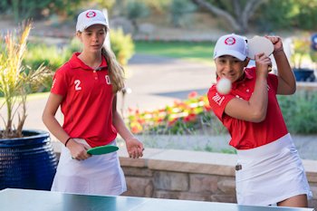 SCOTTSDALE, AZ - OCTOBER 11: Anna Swan of Team Ohio and Natalie Kostalnick of Team Ohio play ping pong during a practice round for the 2019 PGA Jr. League Championship presented by National Car Rental held at the Grayhawk Golf Club on October 11, 2019 in Scottsdale, Arizona. (Photo by Darren Carroll/PGA of America)